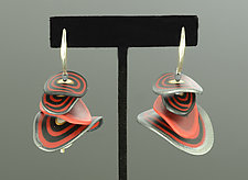 Petals Organics in Red Black Mix by Arden Bardol (Polymer Clay Earrings)