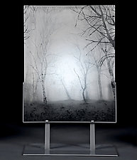 Forest in Fog by Paul Messink (Art Glass Sculpture)