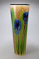 Pearl Vase with Blue Pansies by Mayauel Ward (Art Glass Vase)
