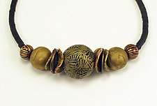 Antique Gold Chinese Necklace by Loretta Lam (Polymer Clay Necklace)