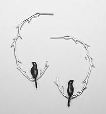 Vine with Bird Hoop by Lisa Cimino (Silver Earrings)