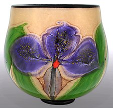 Violet Orchid Bowl by Mayauel Ward (Art Glass Bowl)