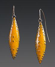 Marigold Yellow Leaf Earrings by Beth Novak (Enameled Earrings)