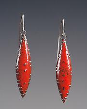Flame Red Leaf Earrings by Beth Novak (Enameled Earrings)