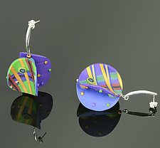 Wings Earrings in Round Violet Green Mix by Arden Bardol (Polymer Clay Earrings)