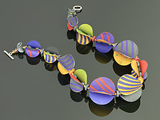 Wings Necklace Round in Red Periwinkle Mix by Arden Bardol (Polymer Clay Necklace)