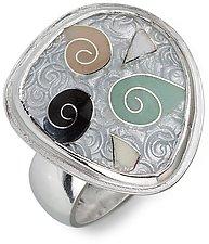 Spiral Cloisonne Ring - Size 6 by Nancy Troske (Enameled Ring)
