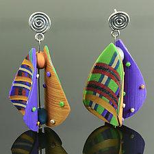 Wings Earrings Teardrop in Purple Green Mix by Arden Bardol (Polymer Clay Earrings)