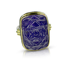 Carved Tanzanite Rectangle Ring by Nancy Troske (Gold & Stone Ring)