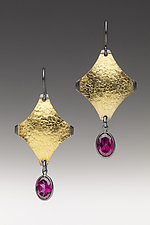 Garnet Drops by Anna Tai (Gold, Silver & Stone Earrings)