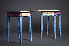 Modern Night Stand in Blue and Pink by Reid Anderson (Wood Side Table)