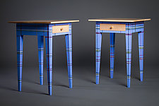 Modern Night Stand in Blue by Reid Anderson (Wood Side Table)