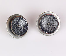 Black and Gray Concave Earrings by Beth Novak (Enameled Earrings)