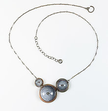Riveted Concave Circles Necklace by Beth Novak (Enameled Necklace)