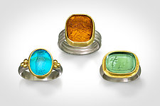Tagliamonte Intaglio Ring by Nancy Troske (Gold, Silver & Glass Ring)