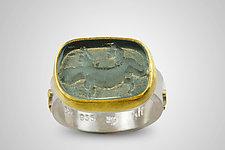 Salamander Intaglio Ring by Nancy Troske (Gold, Silver & Glass Ring)