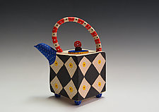 Primary Harlequin Teapot by Vaughan Nelson (Ceramic Teapot)
