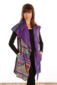 Silk Circular Vest #2 by Mieko Mintz  (Size 1 (2-12), One of a Kind Vest)