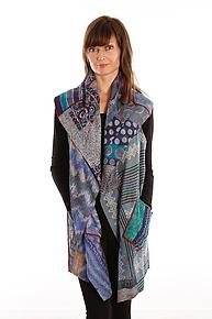 Silk Circular Vest #9 by Mieko Mintz  (Size 2 (14-18), One of a Kind Vest)