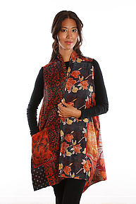 Silk A-Line Vest #7 by Mieko Mintz  (Size 2 (14-20), One of a Kind Vest)