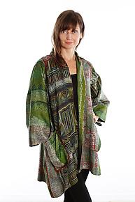 Silk A-line Jacket #13 by Mieko Mintz  (Size 2 (18-24), One of a Kind Jacket)
