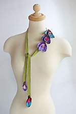 Blossom Lariat in Green by Mila Sherrer  (Felted Necklace)