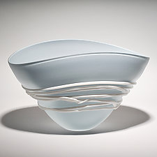 Opal Blue/Gray Fan Bowl by Ian Whitt (Art Glass Bowl)