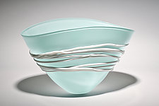 Celadon Fan Bowl by Ian Whitt (Art Glass Bowl)
