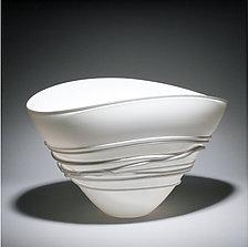 White Fan Bowl by Ian Whitt (Art Glass Bowl)