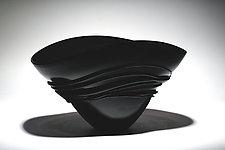 Black Fan Bowl by Ian Whitt (Art Glass Bowl)