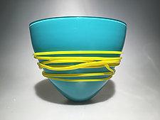 Turquoise Fan Bowl by Ian Whitt (Art Glass Bowl)