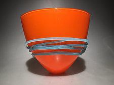 Opaque Orange Fan Bowl by Ian Whitt (Art Glass Bowl)