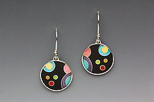Circular Black Galaxy Earrings by Anna Tai (Enameled Earrings)