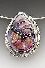 Pink Teardrop Abstract Pendant by Anna Tai (Enameled Necklace)