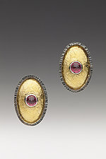 Garnet Oval Earrings by Anna Tai (Gold, Silver & Stone Earrings)