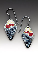 Oxidized Red and Gray Earrings by Anna Tai (Enameled Earrings)