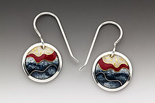 Red and Gray Circle Earrings by Anna Tai (Enameled Earrings)