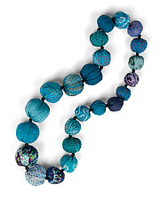 Turquoise Kantha Necklace by Mieko Mintz  (Silk Necklace)
