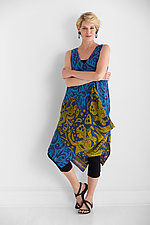 Kantha Pocket Drape Dress #13 by Mieko Mintz (Size M (4-10), One of a Kind)