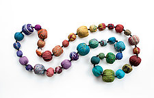 Long Silk Kantha Rainbow Necklace by Mieko Mintz (Silk Necklace)