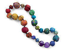 Silk Kantha Rainbow Necklace by Mieko Mintz  (Silk Necklace)