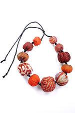 Kantha Necklace #1 by Mieko Mintz  (Adjustable Silk Necklace)