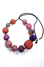 Kantha Necklace #2 by Mieko Mintz  (Adjustable Silk Necklace)
