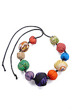Kantha Necklace #3 by Mieko Mintz  (Adjustable Silk Necklace)