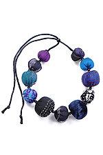 Kantha Necklace #5 by Mieko Mintz  (Adjustable Silk Necklace)