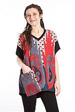 V-Neck Pocket Tunic #7 by Mieko Mintz  (One Size (2-14), Cotton/Rayon Tunic)