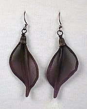 Twist Leaf in Black with Purple by Sarah Cavender (Metal Earrings)