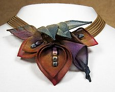 Multi Petal and Leaf Necklace by Sarah Cavender (Metal Necklace)