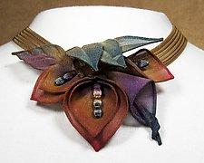 Multi Petal and Leaf Necklace by Sarah Cavender (Metal Necklace)