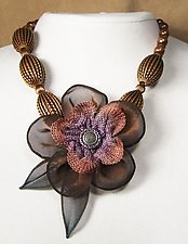 5-Petal Flower Necklace on Corrugated Bead Strand by Sarah Cavender (Metal Necklace)